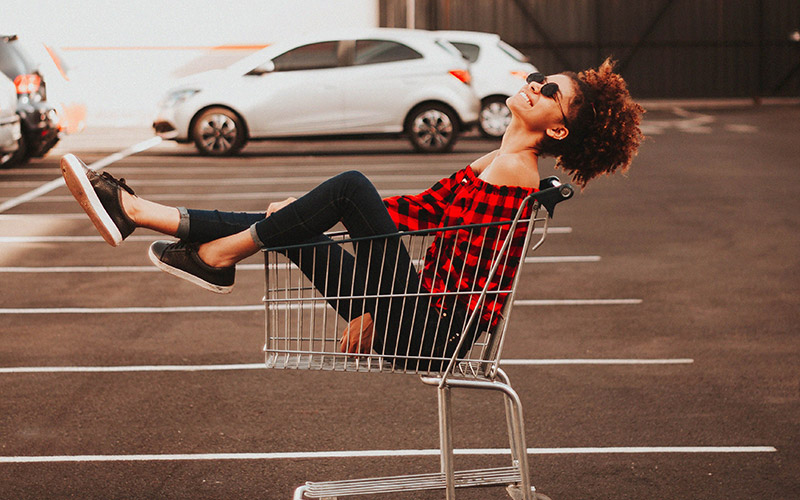 lady in a cart