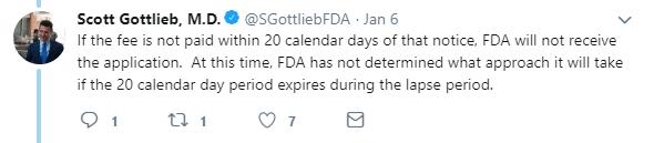 Scott Gottlieb FDA tweet Jan 6 2018 on the impact of the government shutdown on the FDA