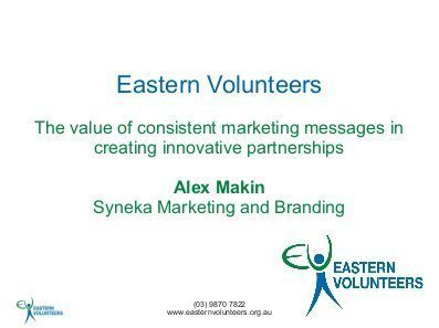 Alex delivered the presentation the value of consistent marketing messages in creating innovative partnerships at the 2011 National Conference on Volunteering