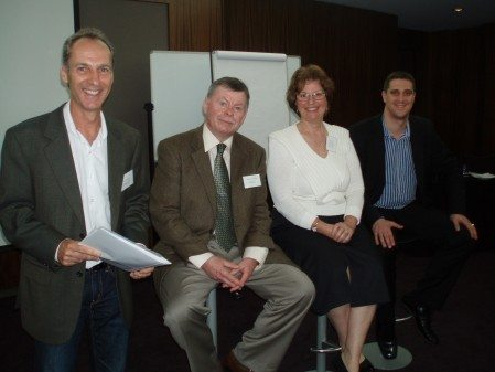 Alex with Peter Buckley (event MC) and session speakers Kevin Cahalane (Membership Growth) and Evelyn Mason (Evelyn Mason and Associates) at the NfP Revolution 2011