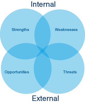 A SWOT Analysis lets you review the internal and external factors influencing your business.