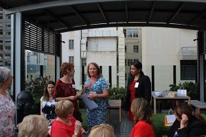 Giving out our Marketing Workshop prize at the Significant Women's Network end of year event