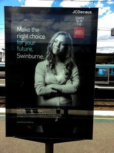 Swinburne University advertisement at Richmond Station