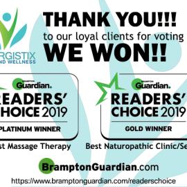 THANK YOU ALL!! 2019 Brampton Guardian Readers' Choice Winner!