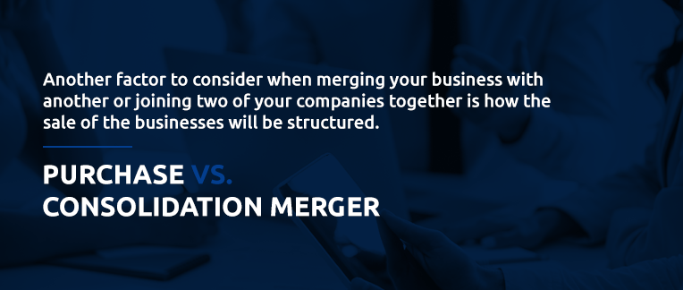 Comparison of purchase consolidation and a merger in business.