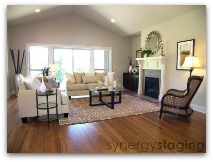 Living Room staged by Synergy Staging in West Linn