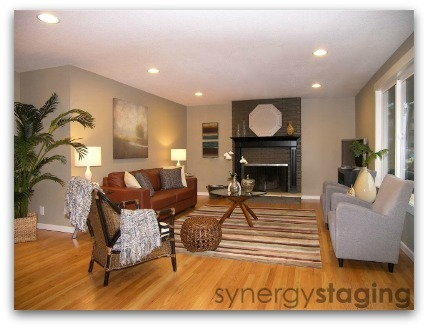 Living Room staged by Synergy Staging