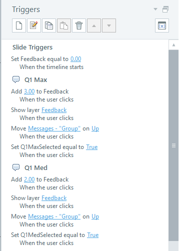 Triggers for adding points to the score and showing feedback