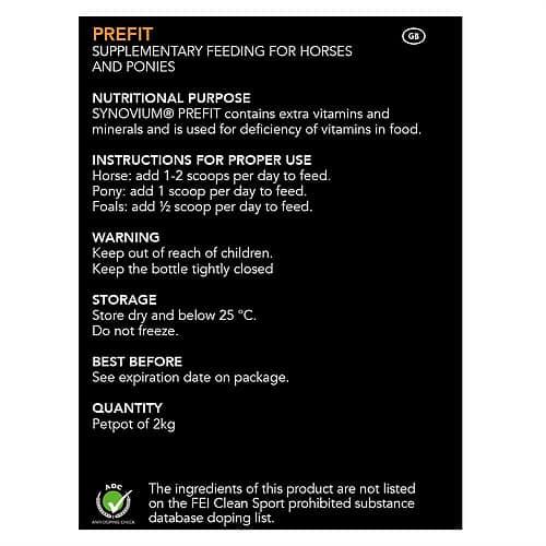 Prefit Supplement label