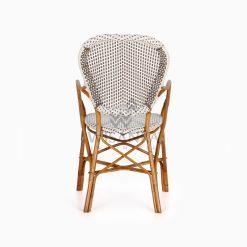 Tira Wicker White Bistro Chair rear