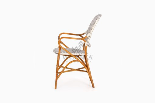 Tira Wicker White Bistro Chair side