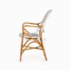 Tira Wicker White Bistro Chair side
