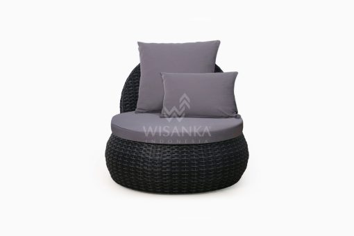 Huvan Occasional Wicker Chair Black with Seat and Pillow front