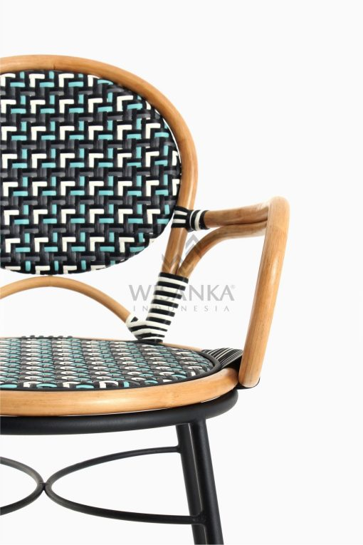 Aira Bistro Chair, Wicker Rattan Chair Detail 1