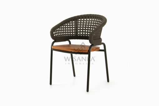 Rio synthetic rope outdoor Arm Chair Black perspective