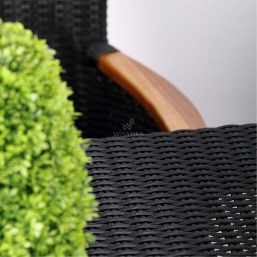 Nova Dining Chair Black with Wooden Arm detail 1- Outdoor Rattan Garden Furniture