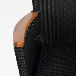 Nova Dining Chair Black with Wooden Arm detail - Outdoor Rattan Garden Furniture