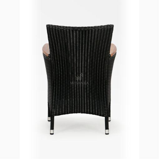 Nova Dining Chair Black with Wooden Arm rear - Outdoor Rattan Garden Furniture