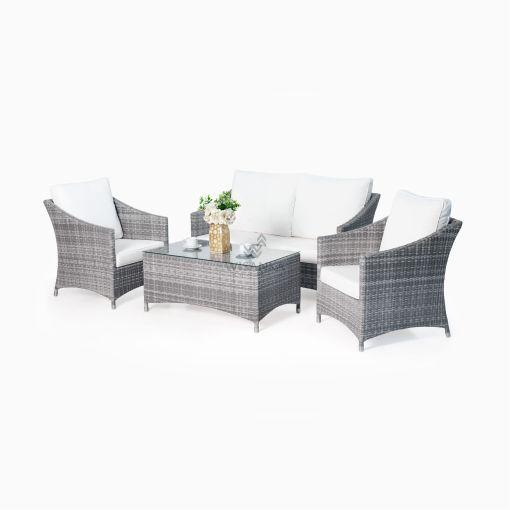 Aqua Living Set - Gray Patio Rattan Furniture Outdoor