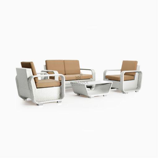 Detroit Living Set - White Garden Rattan Furniture