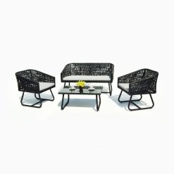Donna Living Set - Black Patio Rattan Furniture Outdoor