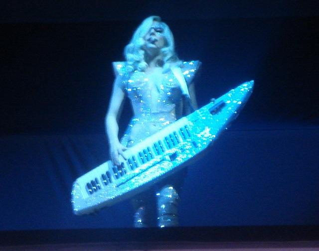 Lady Gaga with a Keytar
