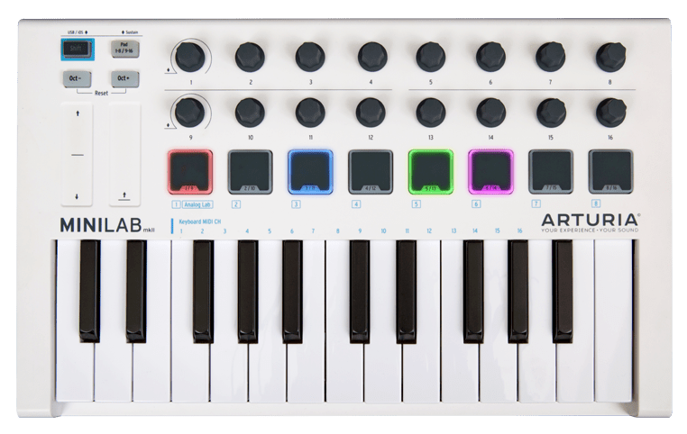 arturia minilab mkii offers pads encoders touch strips in a compact controller synthtopia. Black Bedroom Furniture Sets. Home Design Ideas