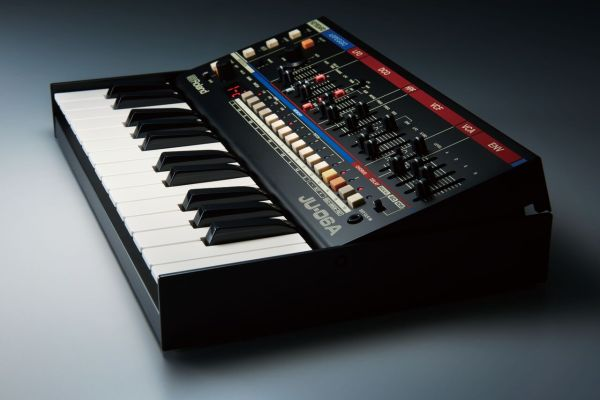 Roland-JU06A-withkeyboard-side-view