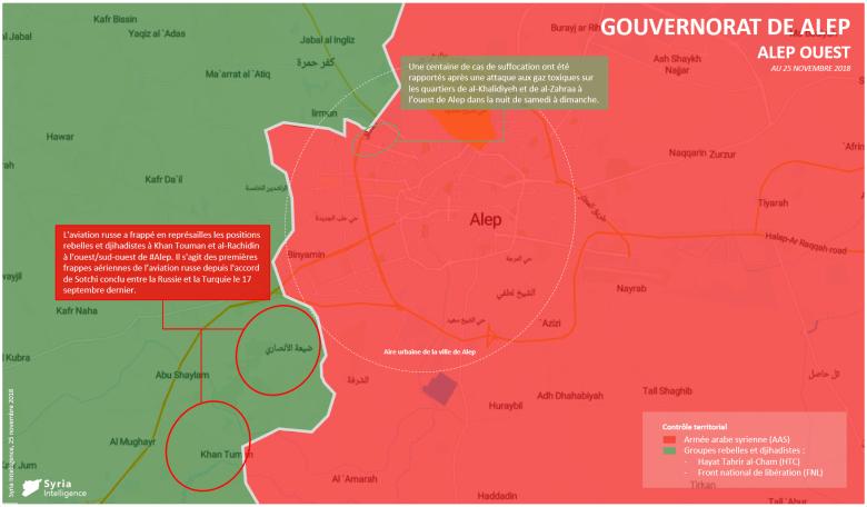 Syria Intelligence - 20181125 - Gouvernorat de Alep - Frappes russes - attaque aux gaz toxiques AAS vs rebelles