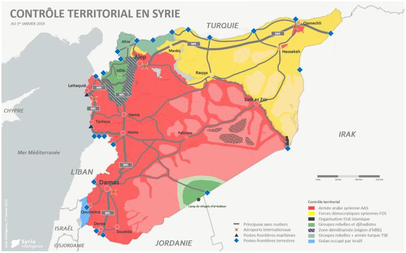 Contrôle territorial en Syrie au 1er janvier 2019