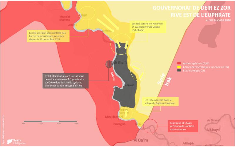 Gouvernorat de Deir Ez-Zor : front autour de la poche de Hajin, à l'est de l'Euphrate