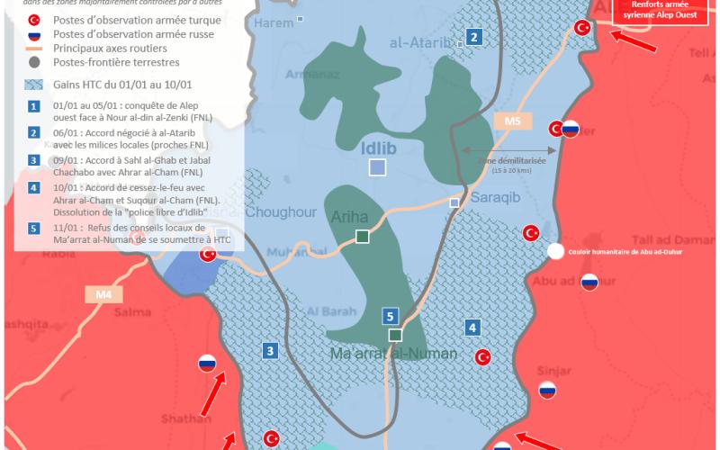Situation militaire dans la région d'Idlib au 11 janvier 2019 : Cessez-le-feu et renforts de l'armée syrienne