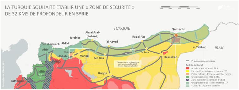 La Turquie souhaite établir une «zone de sécurité» de 32 kilomètres de profondeur en Syrie