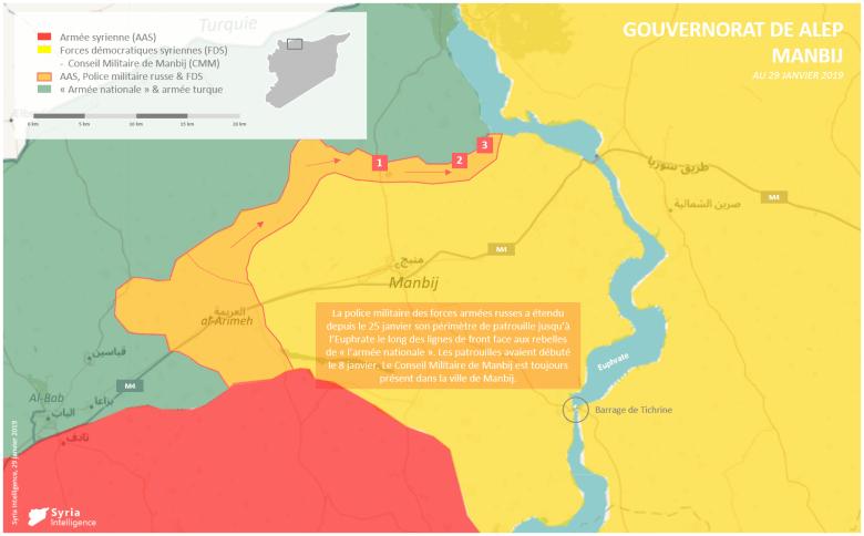 Situation militaire à Manbij : la police militaire russe étend son périmètre de patrouille jusqu'à l'Euphrate