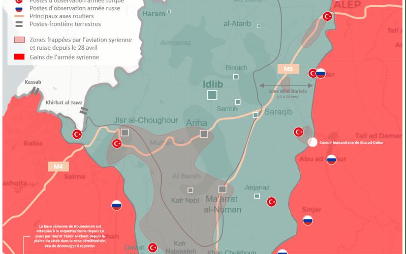 Situation militaire dans la région d'Idlib : L'armée syrienne a lancé ce lundi une offensive terrestre limitée au nord de Hama après dix jours de bombardements intensifs de l'aviation syrienne et russe.