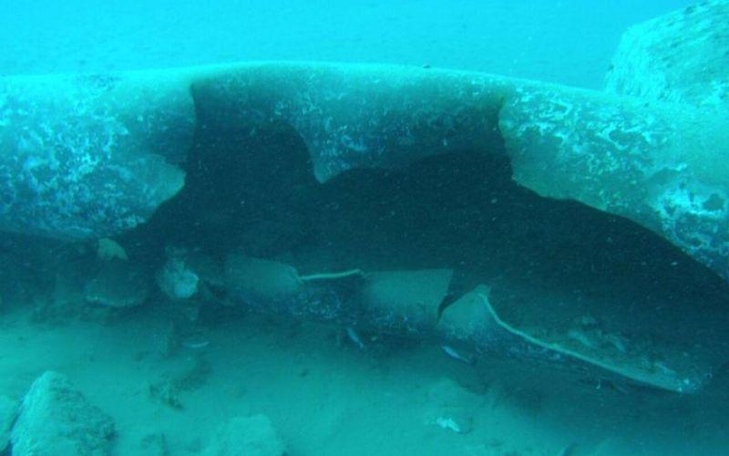Photo publiée par l'agence de presse SANA qui montre les dommages causés aux oléoducs sous-marins au large de la ville côtière de Baniyas (image SANA, le23 juin 2019)