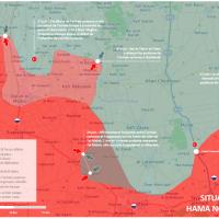 Situation militaire dans le gouvernorat de Hama au 27 juin 2019 : Carte détaillée du front de Hama
