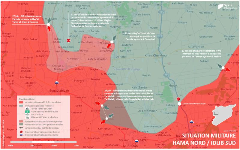 Carte détaillée de la situation militaire à Hama nord, Idlib Sud au 27 juin 2019