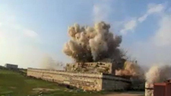 Al Qaeda FSA Wahhabi terrorists blow up historical shrine north of Syria