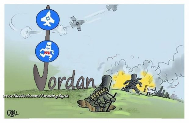 Jordan hosting terrorists and smuggling them into Syria, allowing Israel air passage to target Syrian cities.