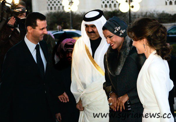 The Sheikh of Qatar with his wife is welcomed by Asma and Bashar al-Assad in Syria in 2008. At that time, they were close friends.