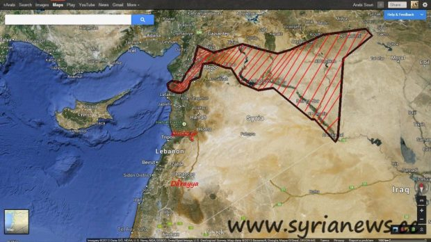 Syrian Map showing FSA's main concentration locations