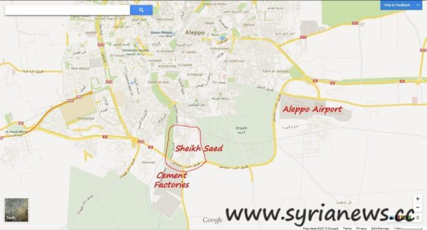 Aleppo southern countryside map showing Aleppo International Airport, Cement factories & Sheikh Saed area