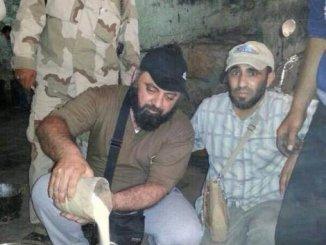 Kuwaiti MP Waleed Al-Tabtabaie making a mortar shell