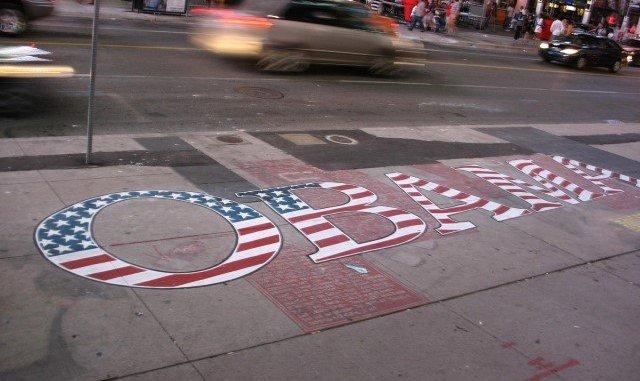 Obama written on a sidewalk in Toronto with chalk.