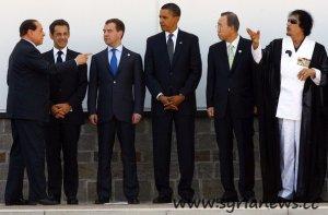 Gaddafi with Ban Ki-moon, Obama, Medvedev, Berlusconi and Sarkozy.