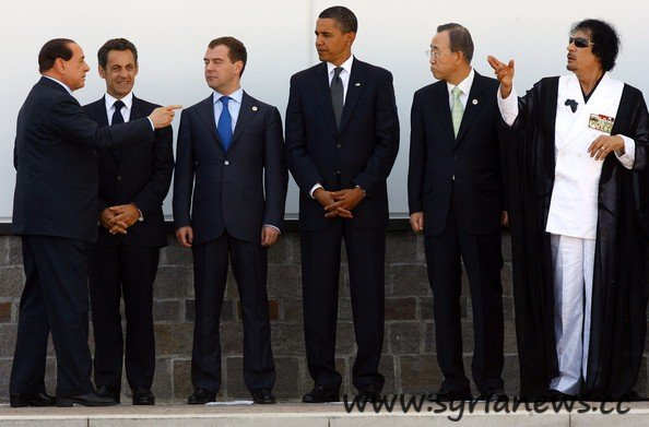 image-Libyan Gaddafi with Ban Ki-moon, Obama, Medvedev, Berlusconi and France Sarkozy.