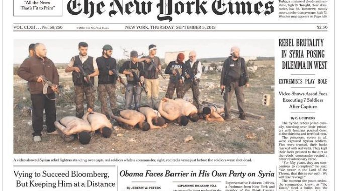 Syrian soldiers are executed by US-backed terrorists in Syria.