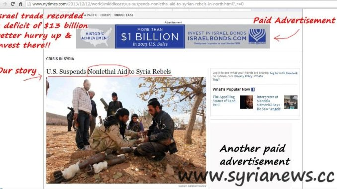 NYTimes Post about US Nonlethal Aid suspension to Al Qaeda FSA