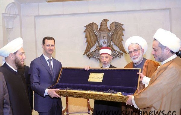Top Islamic cleric martyr Bouti with president Assad